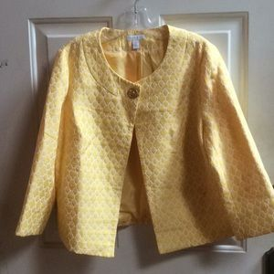 💕Charter Club yellow cropped jacket Sz L